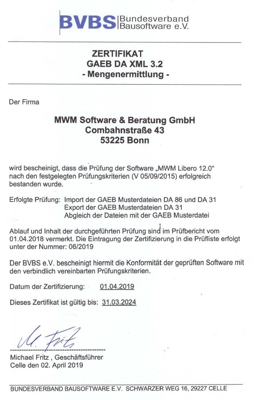 GAEB-Zertifizierung für MWM-Libero 12