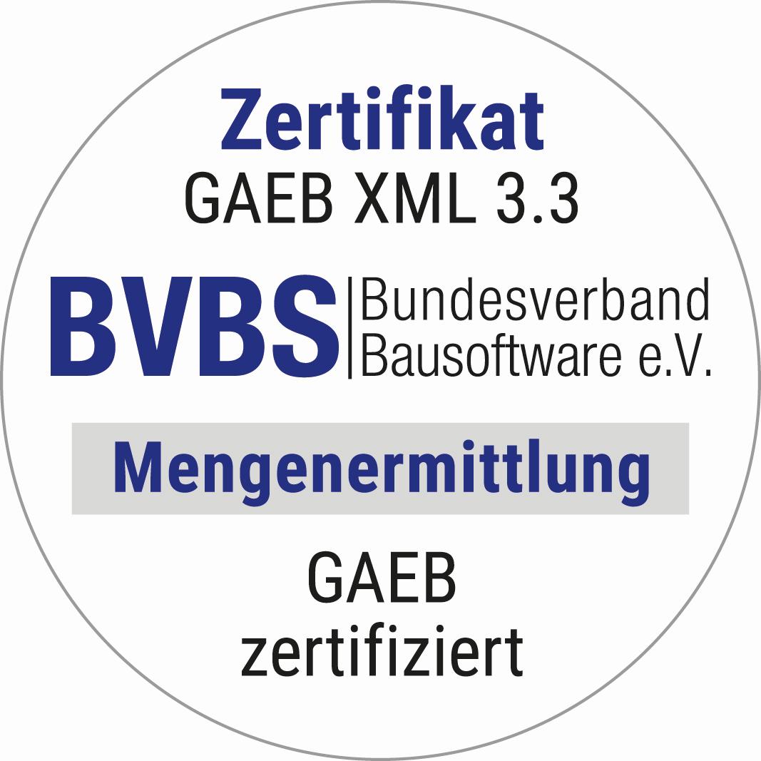 Siegel Zertifikat GAEB DA XML 3.3 Mengenermittlung für MWM-Libero