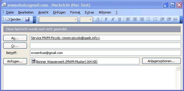 Export einer GAEB-Datei per E-Mail nach MWM-Piccolo