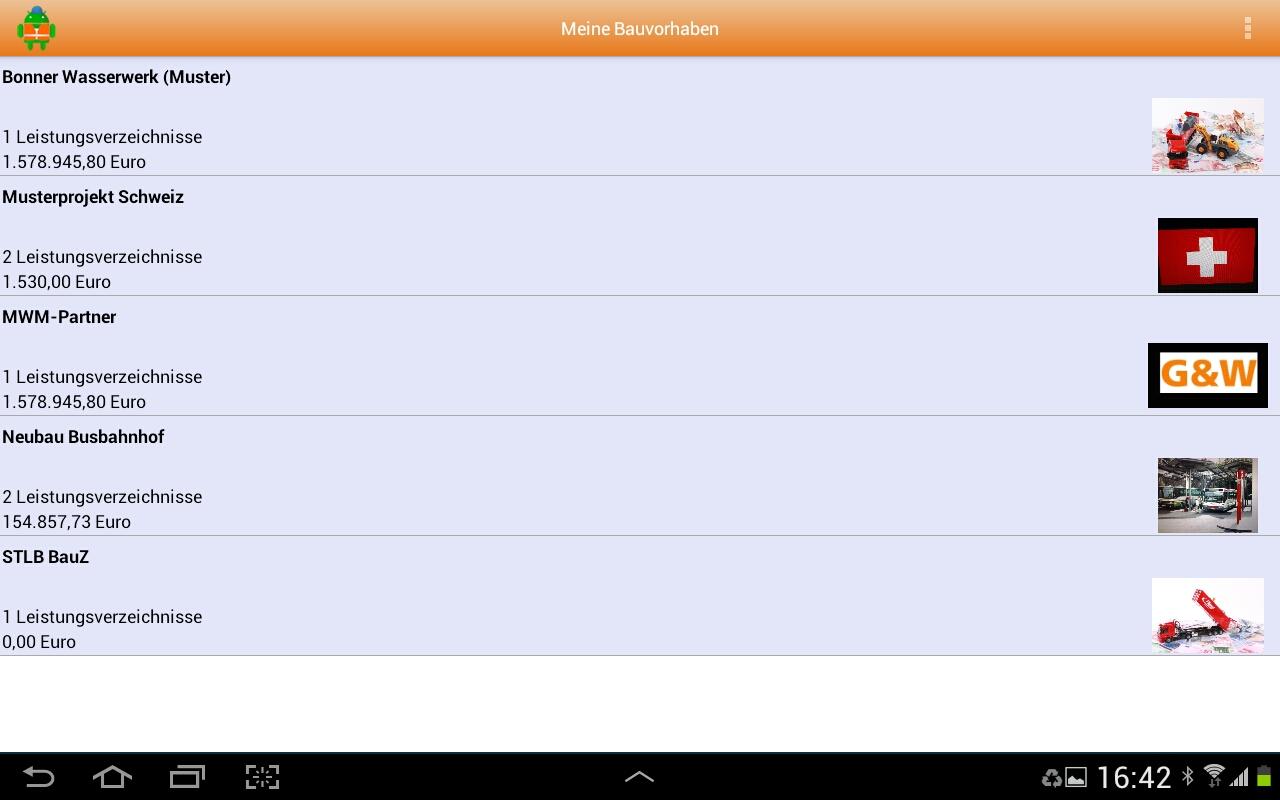 MWM-Piccolo für Android-Übersicht der Bauvorhaben
