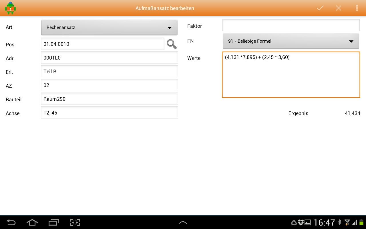 MWM-Piccolo für Android-Aufmaß erfassen