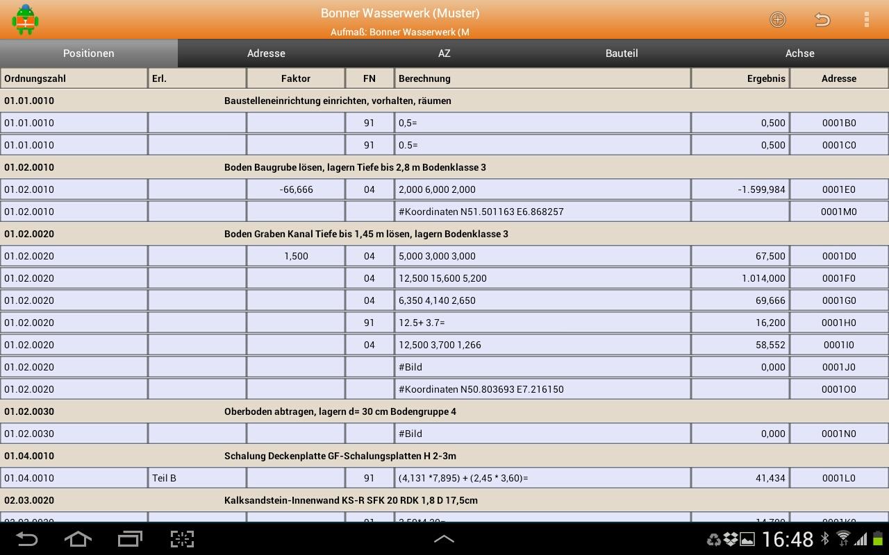 MWM-Piccolo für Android-Aufmaß Übersicht