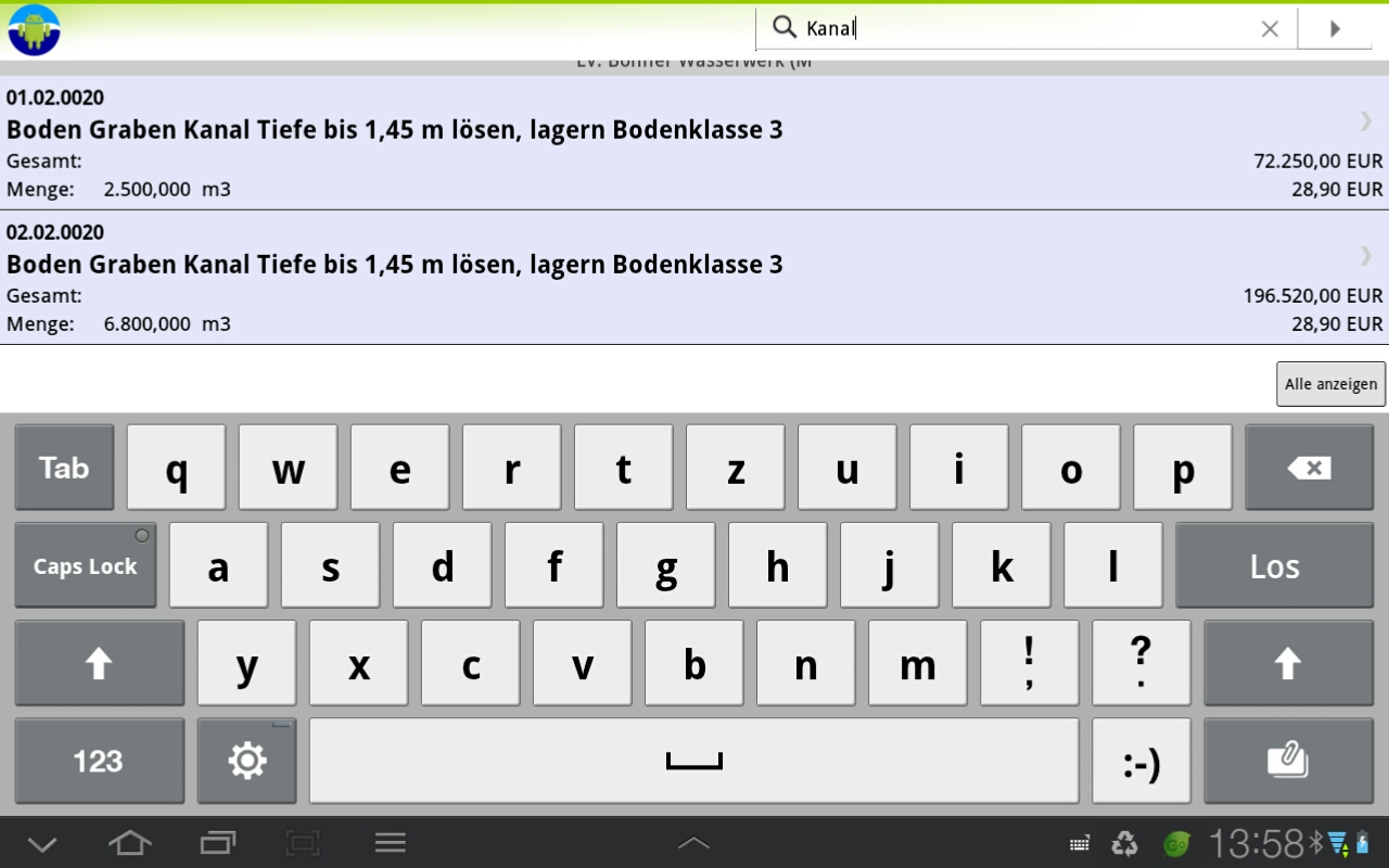MWM-Piccolo für Android-Suchfunktion in Positionen