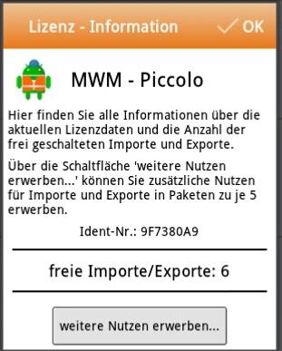 MWM-Piccolo - Lizenz-Information