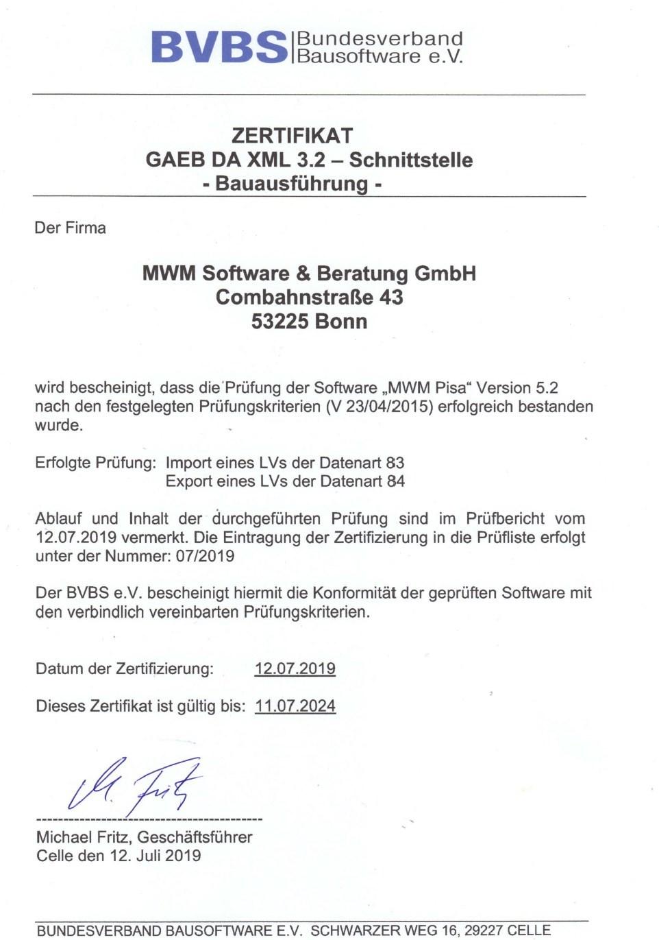 GAEB-Zertifizierung für MWM-Pisa 5.2