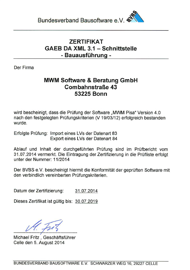 Zertifizierungsurkunde GAEB DA XML 3.1 für MWM-Pisa 4.0
