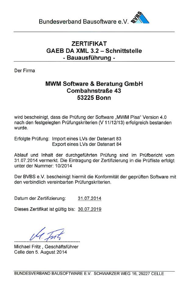 Zertifizierungsurkunde GAEB DA XML 3.2 für MWM-Pisa 4.0