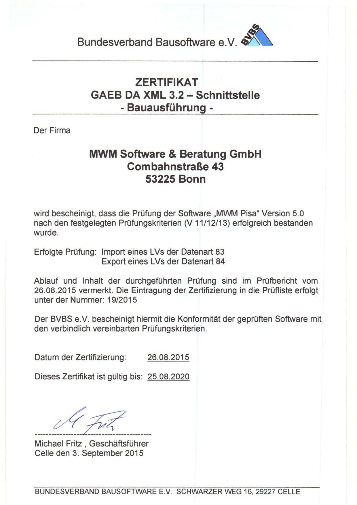 GAEB-Zertifizierungsurkunde MWM-Pisa 5