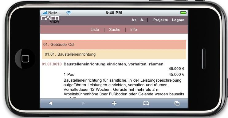 MWM GAEBView auf  dem iPhone im Querformat