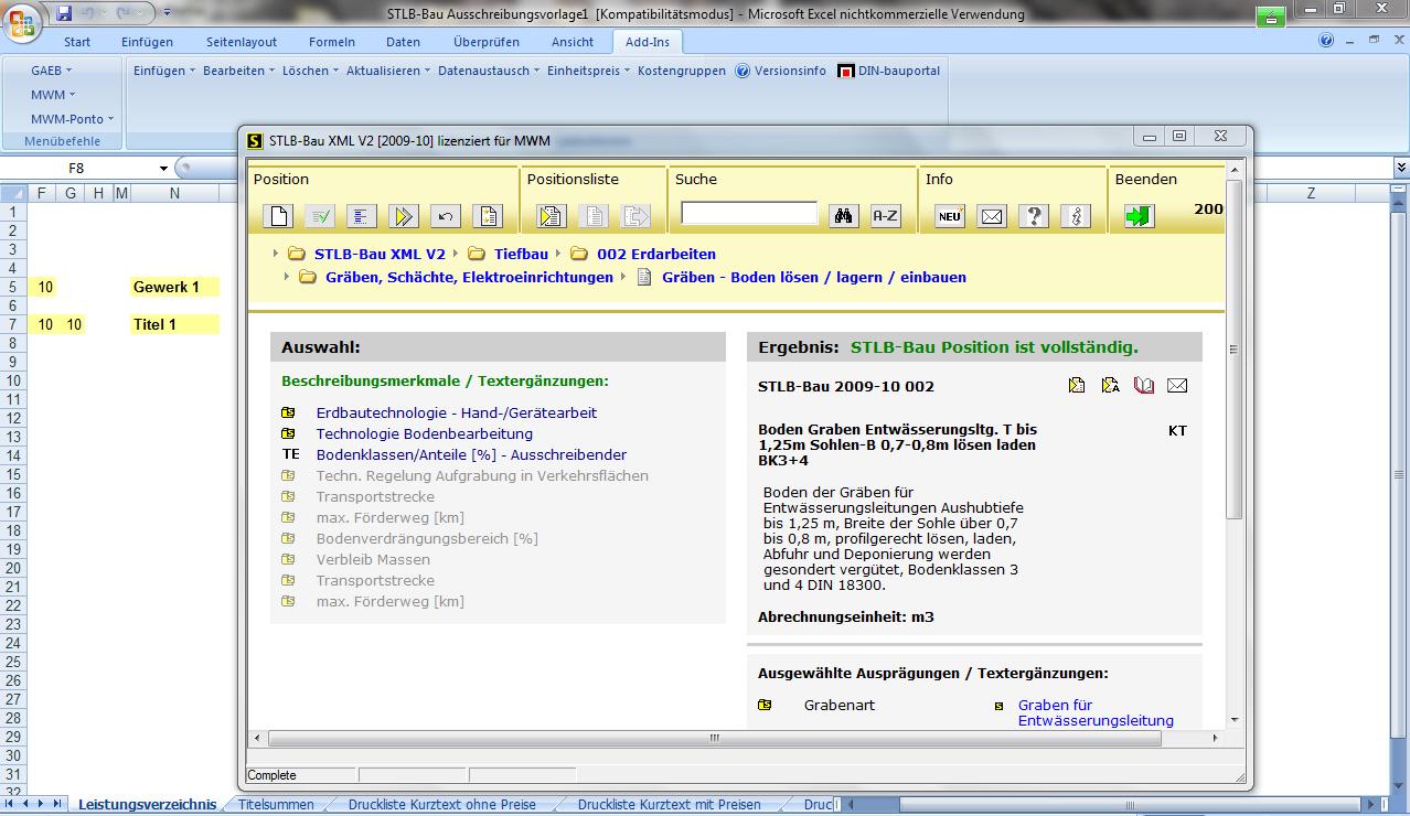 Aufruf von STLB-Bau Texte in Excel