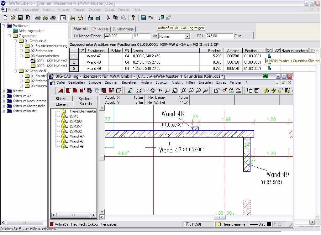 MWM-Libero und DIG-CAD: Grafische Bauabrechnung