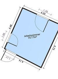 Der aufgemessene Raum als 2D Objekt mit Maßen