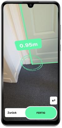 Aufmaßfunktion in der Roometric App: Vermessung einer Tür